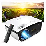 Mini Projector-2021 Upgraded Portable Video Projector with Genuine HDCP Key for Outdoor Movie/Home Theater/Video Game, Support Full HD 1080P, Compatible with Netflix/TV Stick/Phone/Laptop/PC/HDMI/USB