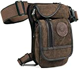 Thigh Drop Leg Bag for Men Fanny Pack Tactical Military Motorcycle Rider Multi-Pocket Waist Bags Mens Travel Hiking Climbing Outdoor Pocket Coffee