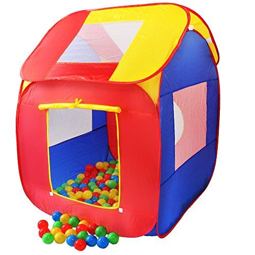 KIDUKU® Tienda de campaña Infantil Piscina de Bolas Tienda de Tela para niños Pop up + 200 Bolas + Bolsa para Interior y Exterior