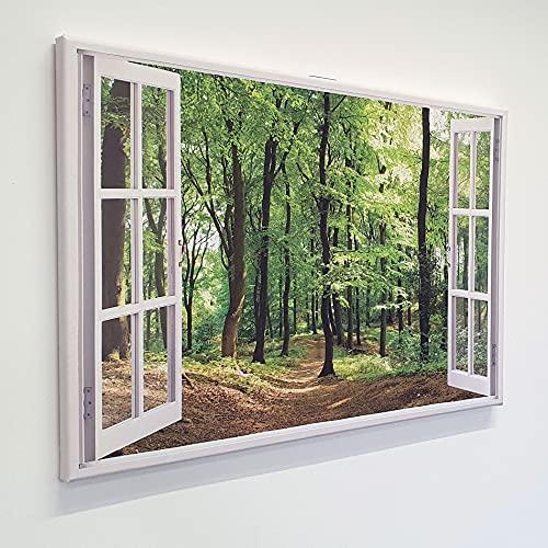 Leinwand mit Fensterblick - Druck auf Canvas Leinwand - moderner Kunstdruck - XXL Wandbild – Fenster mit Ausblick - Keilrahmen mit Druck (Wald, 90 x 60 cm)