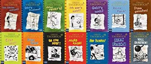 Jeff Kinneys Gregs Tagebuch 1-14 im Set plus 1 exklusives Postkartenset