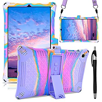 DETUOSI Silicone Case Compatible with Samsung Galaxy Tab S6 Lite 2020 Release  SM-P610/P615 ,Tab S6 Lite 10.4 inch Protective Cover for Kids [with Tablet Stylus Pen & Strap],Rose Red & Purple