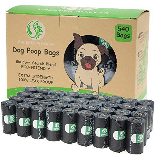 Greener Walker Bolsas para Excrementos de Perro,540 Unidades,Extra Grueso,Fuerte y 100% a Prueba de Fugas Biodegradable Bolsas para Caca de Perro(Negro)