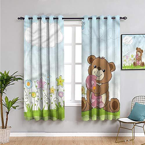 Pcglvie Cortinas para puerta corredera para niños, decoración del hogar, 213,4 cm de largo, diseño de oso de peluche y juguete, muebles protectores de 84 x 84 pulgadas