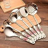 YWSZJ 7 Pezzi Manici in Ceramica Set di Utensili da Cucina Utensili da Cucina in Acciaio Inossidabile Set di fornelli Saltare in Padella Pale Cucchiaio Colino Spatola