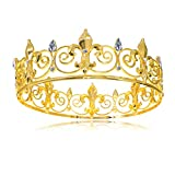 Round King Crown Cake Topper Gold Boys Tiara Men Headband Male Hair Costume Accessory Prom Party Wedding Photo Booth