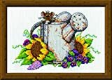 "Design Works Crafts Watering Can Mouse, 5 x 7 Counted Cross Stitch Kit, 5"" by 7"", Multi-Colour"