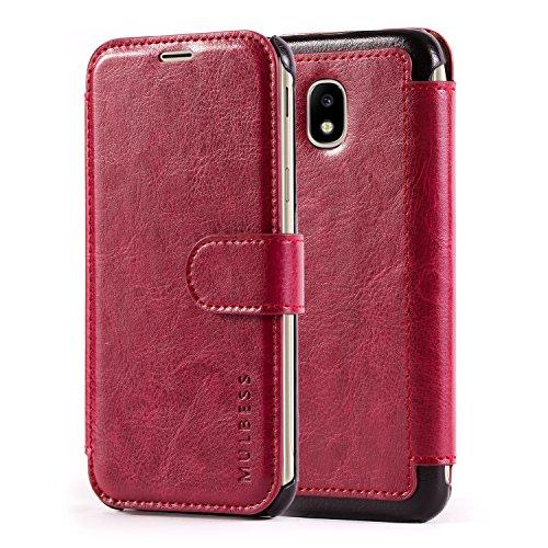 Mulbess Handyhülle für Samsung Galaxy J3 2017 Hülle Leder, Samsung Galaxy J3 2017 Handytasche, Layered Flip Schutzhülle für Samsung Galaxy J3 2017 / J3 Duos 2017 Case, Wein Rot