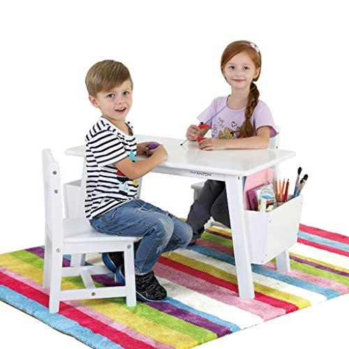 Table d'étude pour enfants Tables et chaises pour Enfants en Bois Massif Jouets pour la Chambre des Enfants Support de Jeu pouvant Supporter Un Poids de 200 kg (Color : Blanc)