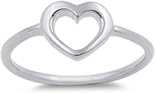 Women's Heart Simple Cute Promise Ring New .925 Sterling Silver Band Sizes 1-10