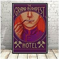 クラシック映画ポスター「グランドブダペストホテルポスター絵画キャンバス壁アート写真リビングルーム壁の装飾50x70cmx1フレームなし