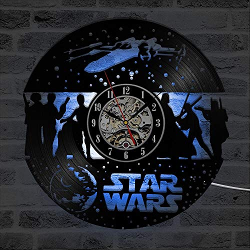 3D-Schallplattenwand Classic Star Wars Theme Kreative Schallplattenuhr Black Hollow Room Decor LED-Uhr