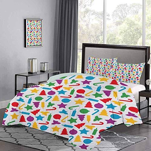 Copripiumino Sagome Colorate di Icone Natalizie sparse Candele Holly Candy Stars Copripiumino Premium Fresco e Comodo in Estate Multicolore