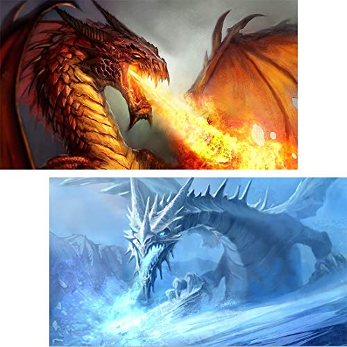 Yomiie 5D Diamond Painting Fire & Ice Dragon Full Drill by Number Kits, 30x50cm Dracarys Paint with Diamonds Arts Red & Blue Dragonfire Cross Stitch DIY Craft Decor (12x20inch, 2 Pack)