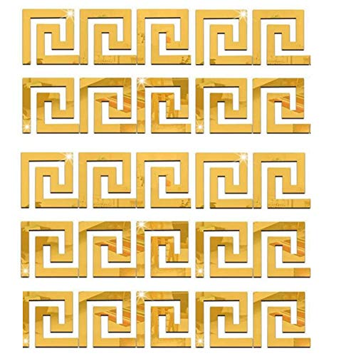 ZHIRCEKE 25Pieces Removable Acrylic Mirror Setting Wall Sticker Geometric Greek Key Pattern for Home Living Room Bedroom Decor (Gold,Silber)
