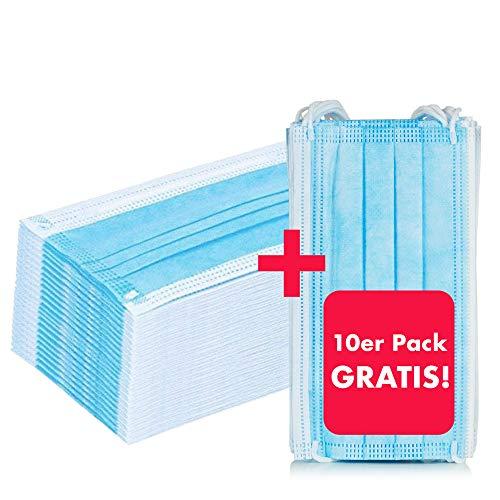 NEU: 50 Stück Mundschutz + 10 Stück GRATIS – Einweg Mundbedeckung aus Vlies (Versand aus Deutschland) (50 Stück + 10 St. Gratis)