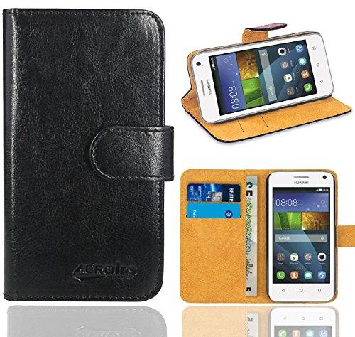 Huawei Y3 Handy Tasche, FoneExpert® Wallet Hülle Flip Cover Hüllen Etui Ledertasche Lederhülle Premium Schutzhülle für Huawei Y3 (Schwarz)