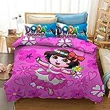 X/Y 3D Dora The Explorer Kids Duvet Cover Set 3 Piece Polyester Pink Background Cute Cartoon Bed Cover Set Including 1Duvet Cover,2Pillowcases Queen 228cmx228cm(NO Comforter)