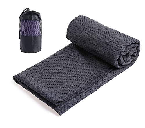 Xlabor Mikrofaser Yogatuch Handtuch mit Antirutsch Noppen Yogamattenauflage Unterlage Towel Fitnesssporttuch für die Yogamatte dunkelgrau