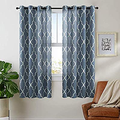 "jinchan Moroccan Tile Curtains Print for Living Room Curtain Quatrefoil Flax Linen Blend Textured Grommet Lattice Window Curtain Set for Bedroom Geometry Set of 2 Panels 63"" L Blue"