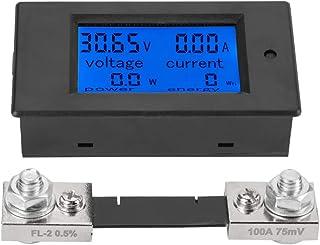 Akozon PEACEFAIR PZEM 051 LCD Display DC 6,5 100 V Digital Electric Power Energy Spannung Stromzähler Power Energy Battery Monitor Stromstärke Meteranzeige mit integriertem Shunt(100A Splitter)