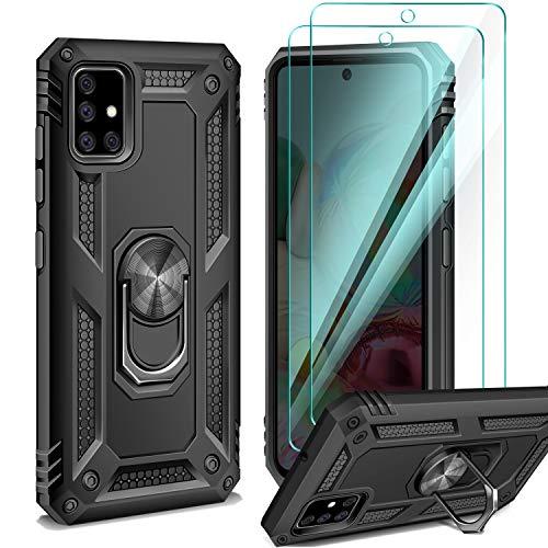 AROYI Handyhülle Kompatibel mit Samsung Galaxy A71 Hülle mit 2 Stück Panzerglas, 360 Grad Ring Halter Cover Magnetische Bumper - Schwarz
