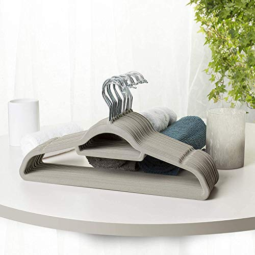 Direct Online Houseware - Set di 50 grucce in velluto grigio con tacche e barra