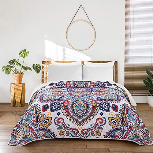 ENCOFT Tagesdecke Bettüberwurf Steppdecke Patchwork Boho Bettdecke Einzelbett Polyester (150 x 200 cm, Blau)