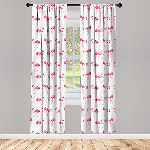 """Ambesonne Flamingo Window Curtains, Repetitive Pattern of Hand Painted Tropic Birds and Spots, Lightweight Decorative Panels Set of 2 with Rod Pocket, 56"""" x 84"""", Pink Blush"""