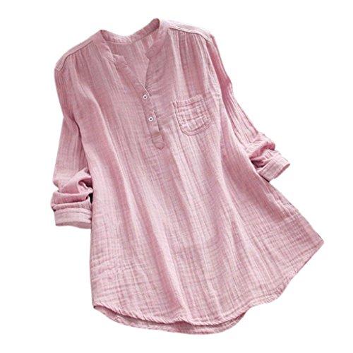 YEBIRAL Damen Bluse Lose Einfarbig Große Größen V-Ausschnit Langarm Leinen Lässige Tops T-Shirt Bluse S-5XL(EU-38/CN-M,Rosa)