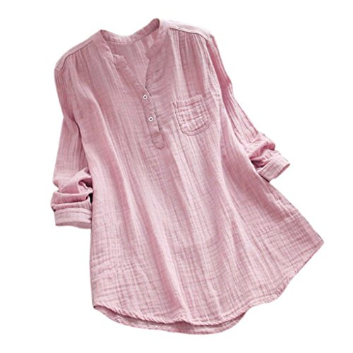 YEBIRAL Damen Bluse Lose Einfarbig Große Größen V-Ausschnit Langarm Leinen Lässige Tops T-Shirt Bluse S-5XL(EU-50/CN-5XL,Rosa)