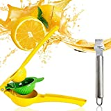 IHUIXINHE Manual Juicer, Lemon Lime Squeezer, Premium Quality Metal Hand Juicer Kitchen Tool, Professional 2-in-1 Juicer Citrus Squeezer Press, Come with a Lemon Grater (2 Pack)