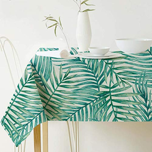 GWELL Mantel para Mesa Rectangular Impermeable, Plantas Verdes Hojas Lavable de Casa Hotel Cocina Salón