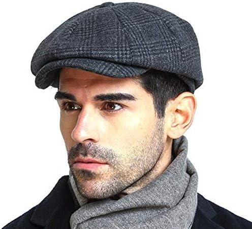 Men s Vintage Newsboy Gatsby Hat Blend Wool Flat Ivy Cabbie Autumn Winter Cap Boyfriend Gift product image