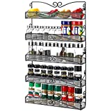 3S Wall Mounted Spice Rack Organizer for Cabinet Pantry Door Kitchen Large Hanging Spice Shelf,5 Tier Black