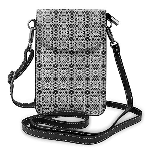 Women Mini Purse Crossbody of Cell Phone,Medieval Ethnic Geometric Tiles Monochrome Style Ottoman Royal Oriental Design