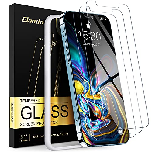Elando Glass Screen Protector Compatible with iPhone 12/iPhone 12 Pro, Ultra Slim Tempered Glass 9H Hardness Film with Easy Installation Kit, 3-Pack