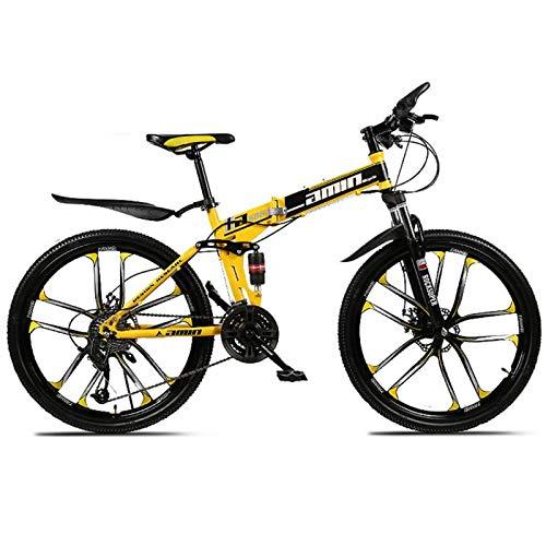 YSHUAI Bicicleta Plegable MTB Bicicletas De Cross Trekking, Deportes Plegables, Bicicleta De Montaña, Fitness Al Aire Libre, Ciclismo De Ocio para Hombres, Mujeres, Niña, Adecuado para Niños,Amarillo