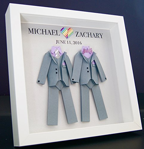 Personalized Gay Same Sex LGBT Wedding Gift, Engagement, First Anniversary Paper Origami Groom & Groom Shadowbox Frame Custom Art Gift
