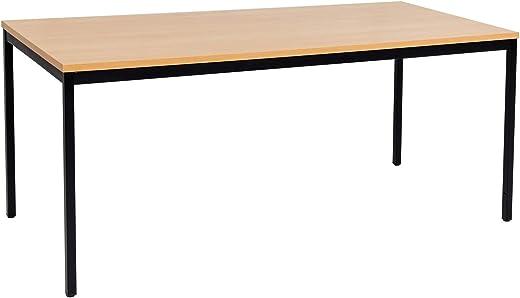 furni24 Schreibtisch Homeoffice schwarz/Buche 200 cm x 80 cm x 75 cm Verschiedene Größen schöner Stabiler PC-Tisch mit viel Beinfreiheiten…
