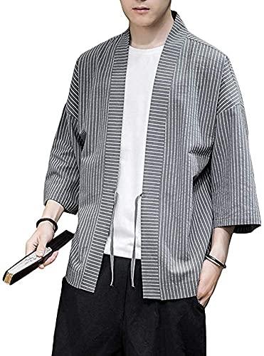 Chaqueta de Kimono a Rayas de Lino para Hombre, Ajuste Regular, Prendas de Vestir de Yukata Japonesa, Tops, Abrigo Retro Informal,Grey-Xsmall