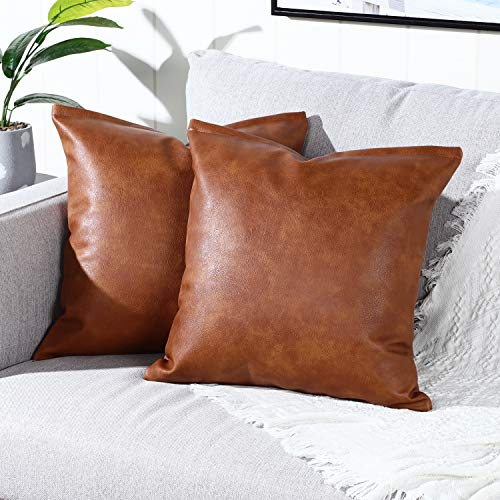 YAERTUN Set of 2 Faux Leather Decorative Throw Pillow Covers Modern Solid Outdoor Cushion Cases Luxury Pillowcases for Couch Sofa Bed 24x24 Inches Brown