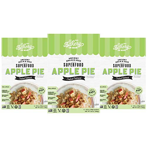 Bakery On Main, Gluten-Free Instant Oatmeal, Vegan & Non GMO - Apple Pie, 10.5oz (Pack of 3)