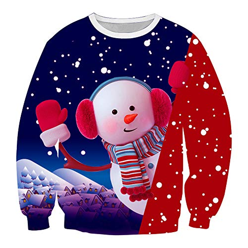 SALEBLOUSE Herren Rundhals Weihnachten Sweatshirt Männer Langarm Schneemann gedruckt Warm Fleece Leichter Jumper Sweater Männer Pullover Tops Blusen Sportshirt Mantel Outwear für Weihnachtsfeier