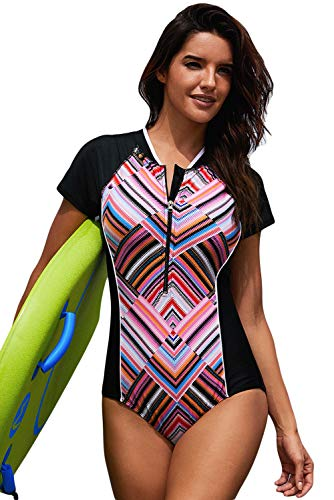 DarkCom vrouwen één stuk surfen Rashguard zwemkleding, korte mouw kleur blok strandkleding met rits voor sport badpak