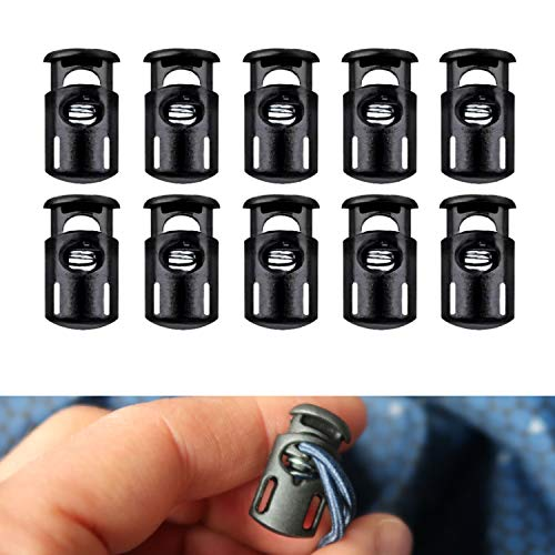 Kordel Stopper 1 Loch, 20 x 13 mm, 6 x 3 mm Loch, optimal für 3 mm Kordel, 10 Pack, Gummikordel Stopper 4 mm, Schnellverschluss Schnürsenkel, Schnur Rutsche, Band Klemme, Tanka für Jacke, Zelt, Schuhe
