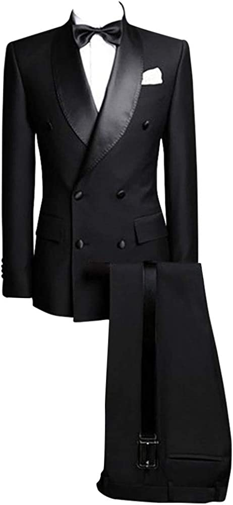 Premium Mens Black Stylish Double Breasted Tux Groom Classic Slim fit Formal Wedding Suit