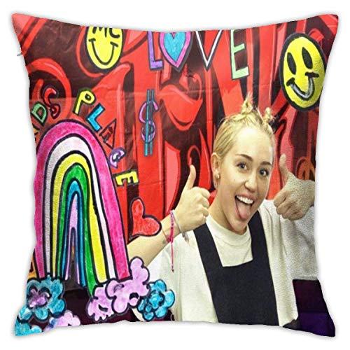 HQSL Miley Cyrus Fundas de Almohada cuadradas Funda de cojín de Almohada Funda de cojín Decorativa de Novedad Fundas de cojín de sofá Funda de cojín de sofá (18x18 Pulgadas)
