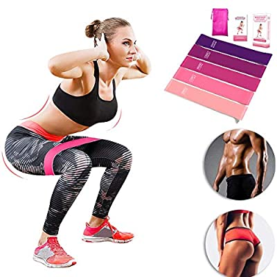 Resistance Loop Bands, Resistance Exercise Bands, Set of 5 Fitness Bands Perfect for Legs and Butt Yoga Crossfit Strength Training Pilates, Natural Latex Exercise Bands (Set of 5)