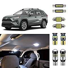 Complete LED Interior Light Replacement Package for 2016 2017 2018 2019 2020 Toyota RAV4 (all configurations). Includes: 2 Map Lights, 1 Dome Lights, 2 Vanity Mirror Lights, 1 Trunk/Cargo Lights, and 2 License Plate Lights (8 LED bulbs total). 300% b...